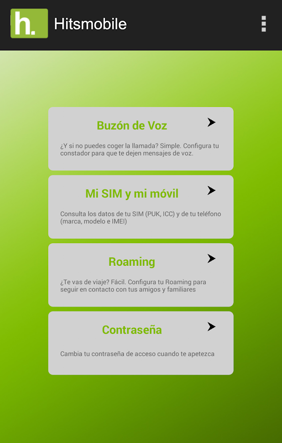 Hitsmobile: captura de pantalla