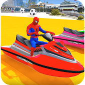 Superheroes Jet Ski Stunts: Top Speed Racing Games