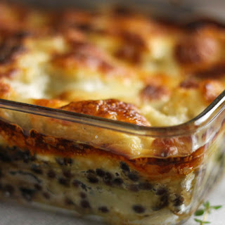 Puy Lentil Lasagne With Creamy Goat's Cheese Sauce.