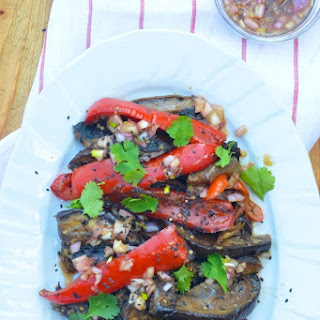 Eggplant, Peppers & Shiitake with Soy Dressing.