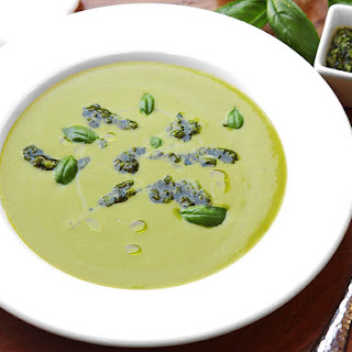 Zucchini and Lettuce Soup With Pesto