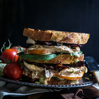 Loaded Bacon & Kimchi Chicken Salad Sandwich.