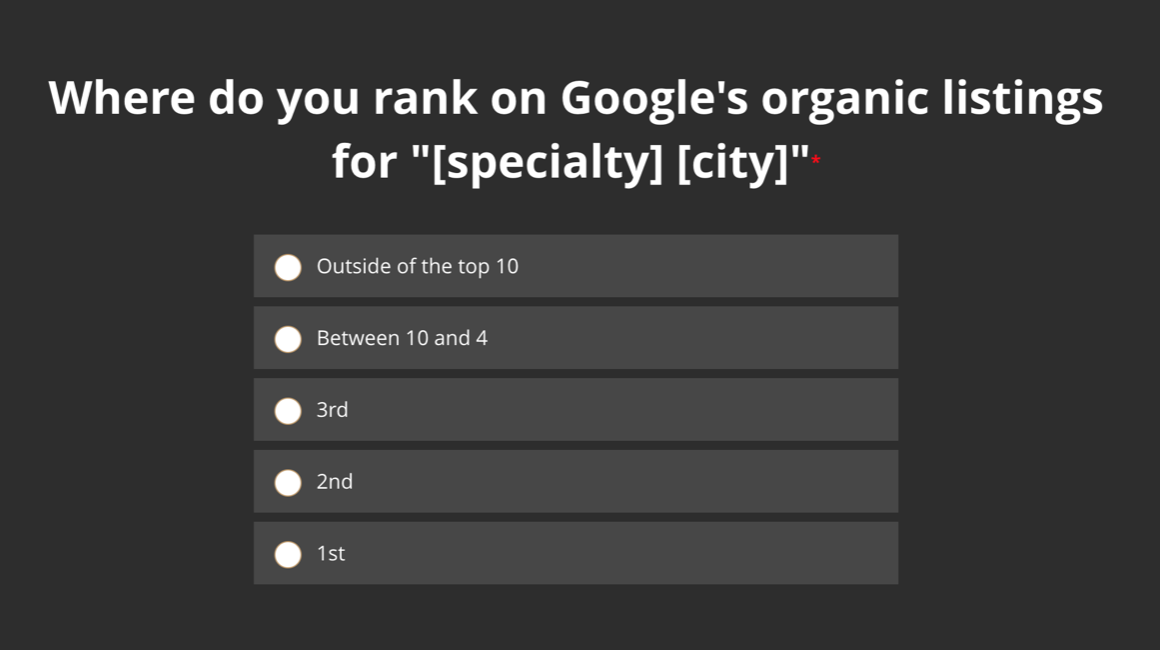 Where do you rank on Google's organic listings for your specialty in your city?