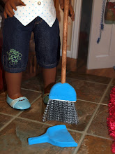 Photo: Dustpan and broom. Made from air dry clay. The broom bristles are from a little wisk broom we found at Dollar Tree.  We cut off the handle and cut the broom in half so it was the right size, then we covered the top of the broom with air dry clay and used a dowel for the handle.