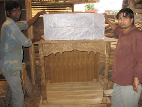 Photo: The new wooden altar for Prabhusundar and the associated deities being built for the annual foundation  ceremony during March11-15, 2009