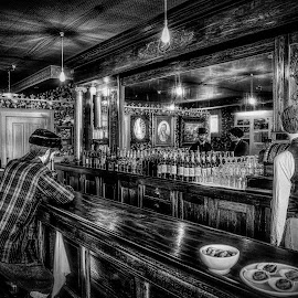 Men At The Bar - B&W by Garry Dosa - Black & White Objects & Still Life ( black & white, b&w, bar, old, saloon, vintage, indoors, people )