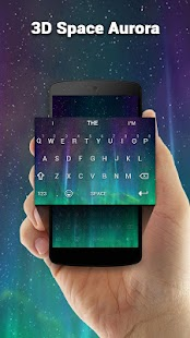 3D Space Aurora Keyboard Theme - náhled