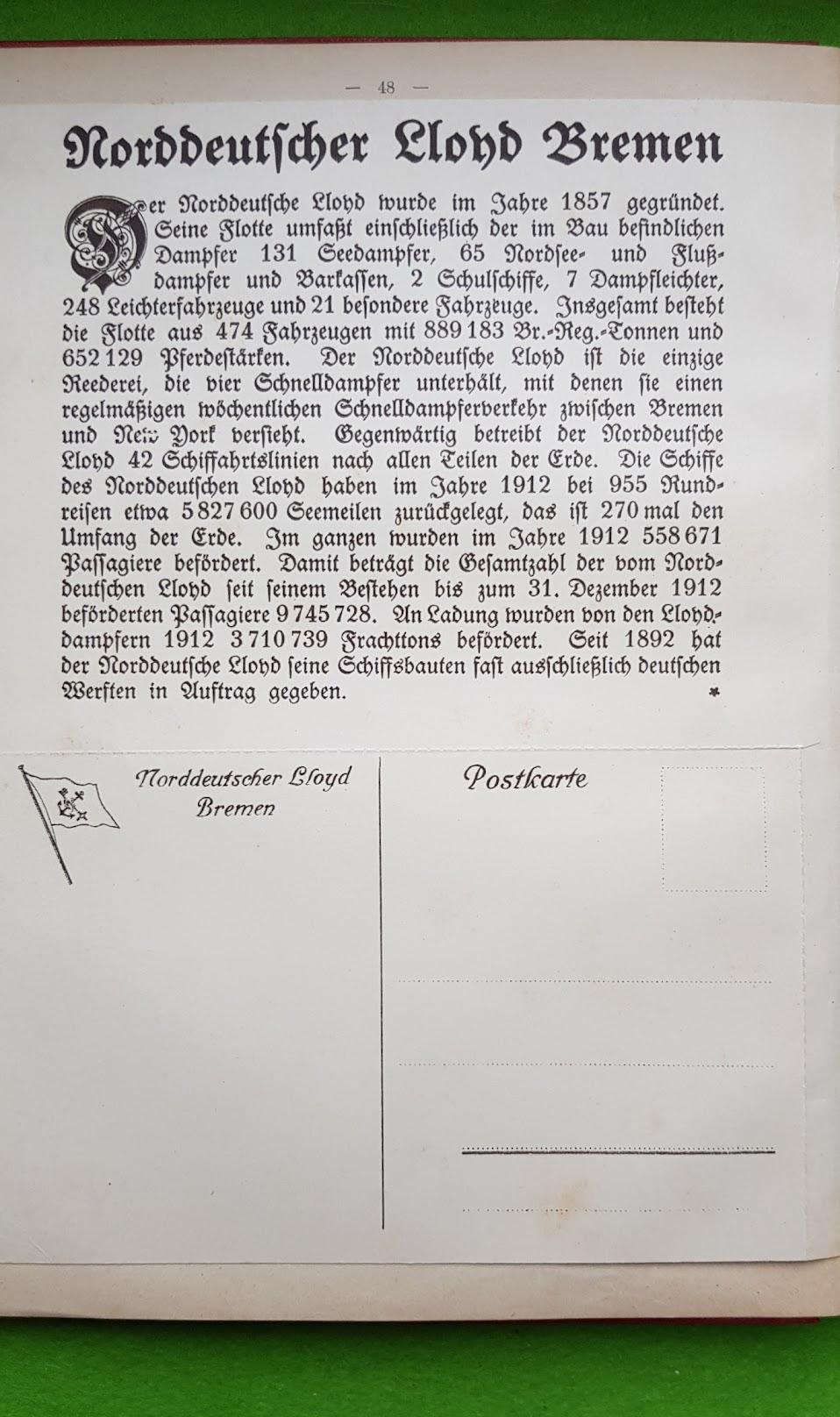 Großer Volkskalender des Lahrer hinkenden Boten - 1914 - Werbung Norddeutscher Lloyd Bremen