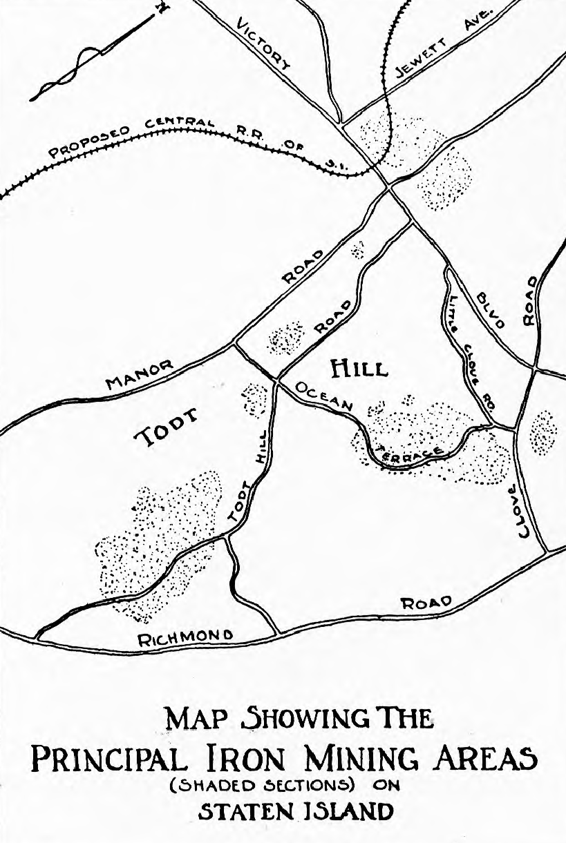 A historic map showing the principal iron mining areas on Staten Island
