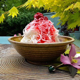 Persian Rosewater and Lemon Sorbet with Rice Noodles and Raspberry Syrup (fālūdeh ba sharbat-e tameshk)