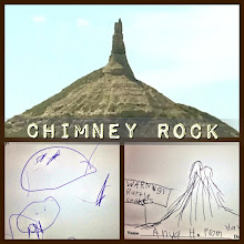 Photo: Westward ho! Passed by the landmark, Chimney Rock, on the Oregon Trail! The kids drew impression of the NE state quarter. — at Chimney Rock National Historic Site.