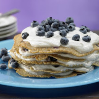 Cinnamon Apple Pancakes with Blueberries and Quark Cream