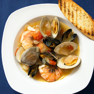 Mussels, Clams and Shrimps in Garlic-Tomato Broth.