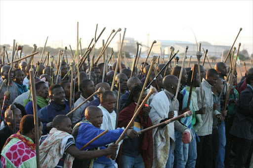 Association of Mineworkers and Construction Union-affiliated workers strike at Marikana. Picture: SOWETAN