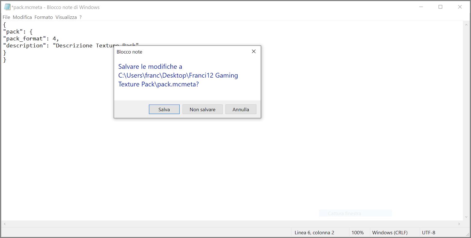 Salvare modifiche apportate al file pack.mcmeta.