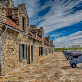 Fort Ticonderoga and the Cannons by Debbie Quick - Buildings & Architecture Other Exteriors ( sky, historic, debbie quick, adirondacks, old, cannons, outdoor photography, historical, debs creative images, new york, building, stone, outdoors, ticonderoga, fort ticonderoga, fort, architecture )