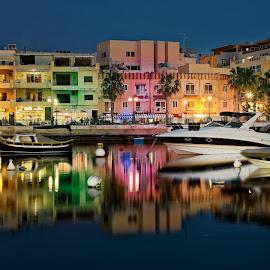 Seafront in Marsaskala, Malta by Michaela Firešová - City,  Street & Park  Night ( malta, water, lights, seafront )