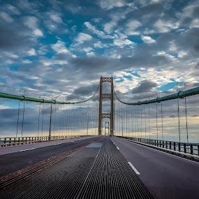mackinac bridge by Sunil Pawar - Buildings & Architecture Bridges & Suspended Structures ( water, clouds, beautiful, sea, lake, ocean, travel, architecture, sky, blue, sunset, summer, bridge, river,  )