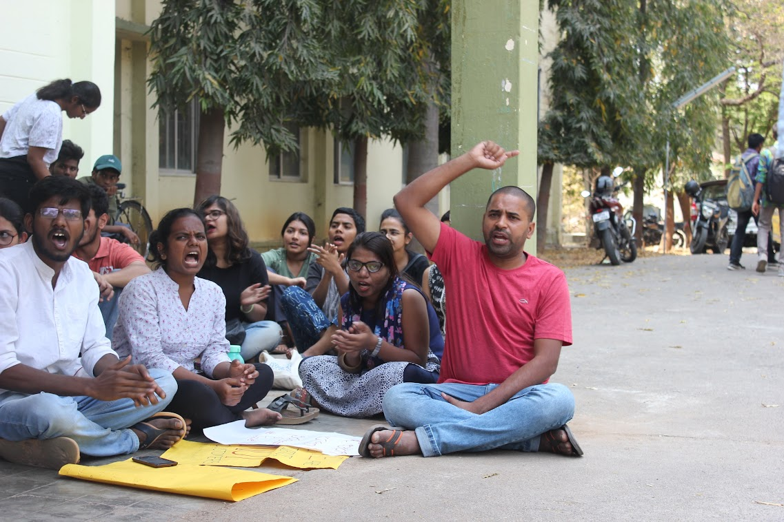 The students' protest at TISS, Hyderabad. Source: TISS students