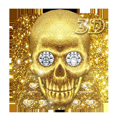3D Luxury Glitter Golden Skull Theme