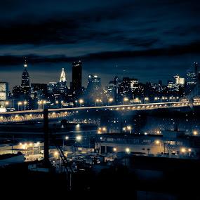 Manhattan @ night by Johannes Schaffert - City,  Street & Park  Skylines ( skyline, queens, manhattan, night, bridge, nyc, new york, chrysler building, usa, empire state, pwcskylines,  )