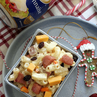 Christmas Ham and Queso De Bola Macaroni Salad.