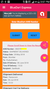BlueDart Express Shipment Tracker screenshot