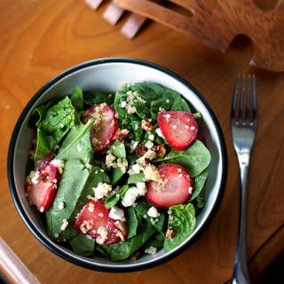 Strawberry Avocado Quinoa Spinach Salad with Balsamic Vinaigrette.