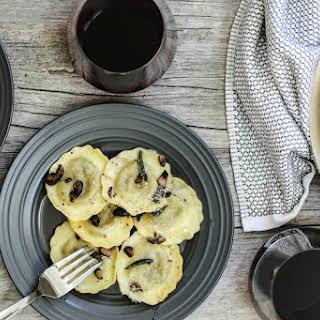 10-Minute Mushroom Ravioli in Brown Butter + Sage Sauce.