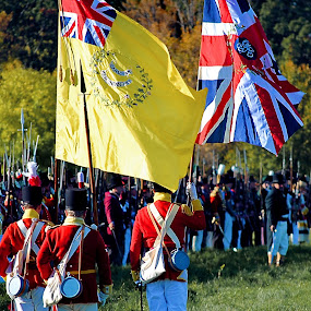 March on the Colours by David Clare - People Group/Corporate ( queenston heights, flag, soldiers, british, re-enactors, living history, canadian, 1812, black powder, 200 anniversary, colours, military,  )