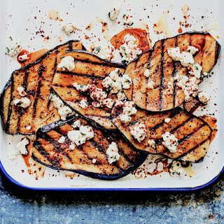 Grilled Eggplant With Feta And Pomegranate Molasses.