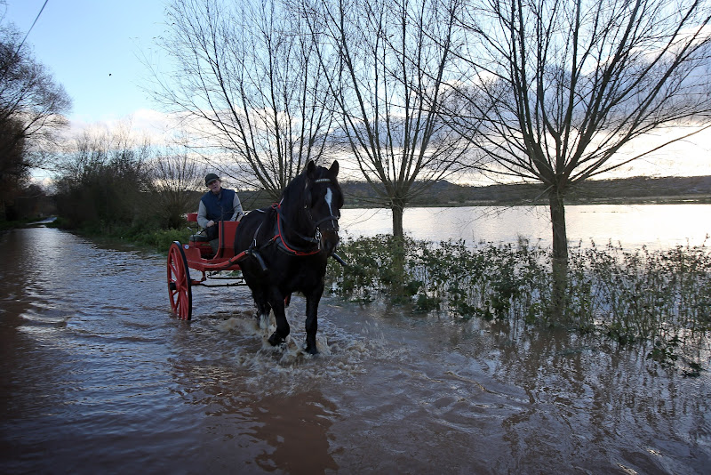 Photo: TAUNTON, ENGLAND - NOVEMBER 21:  A horse and cart passes flooded fields and roads close to the village of North Curry on November 21, 2012 near Taunton, England. Heavy rain overnight has brought widespread disruption to many parts of the UK particularly in the Somerset and Wiltshire and weather forecasters have warned of more wet and windy weather to come.  (Photo by Matt Cardy/Getty Images)