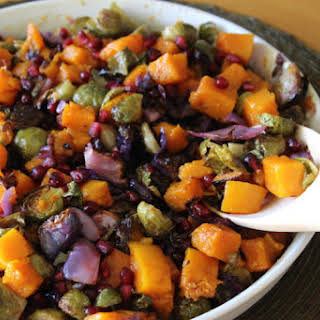 Roasted Butternut Squash and Brussels Sprouts with Pomegranate.