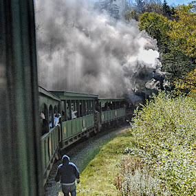 Service stop by Cathleen Steele - Transportation Trains ( smoke, historical, people, train, transportation )