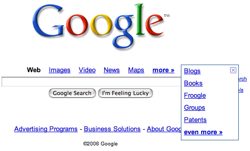 Full image of Google homepage showing search dropdown