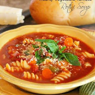 Hearty Vegetable-Tomato Rotini Soup.