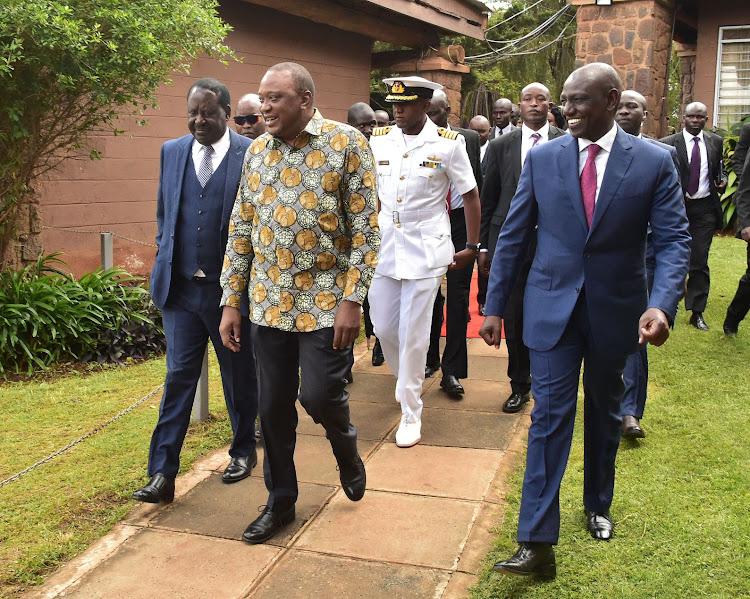 President Uhuru Kenyatta, Raila Odinga and DP Ruto at Bomas of Kenya