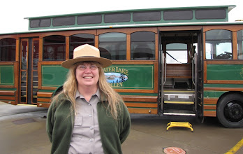 Photo: Marsha McCabe, chief of interpretation and cultural resources, said 20,000 visitors so far rode the CNG-powered trolleys operated by Crater Lake Trolley company in Klamath Falls.