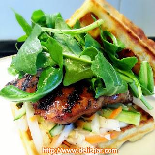 Grilled Lemongrass Chicken Waffle Burger.