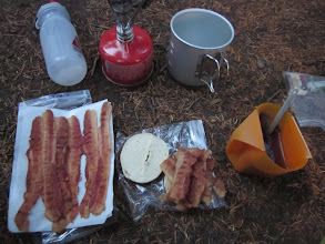 Photo: Camp breakfast without 15 slices of bacon?! I think not.