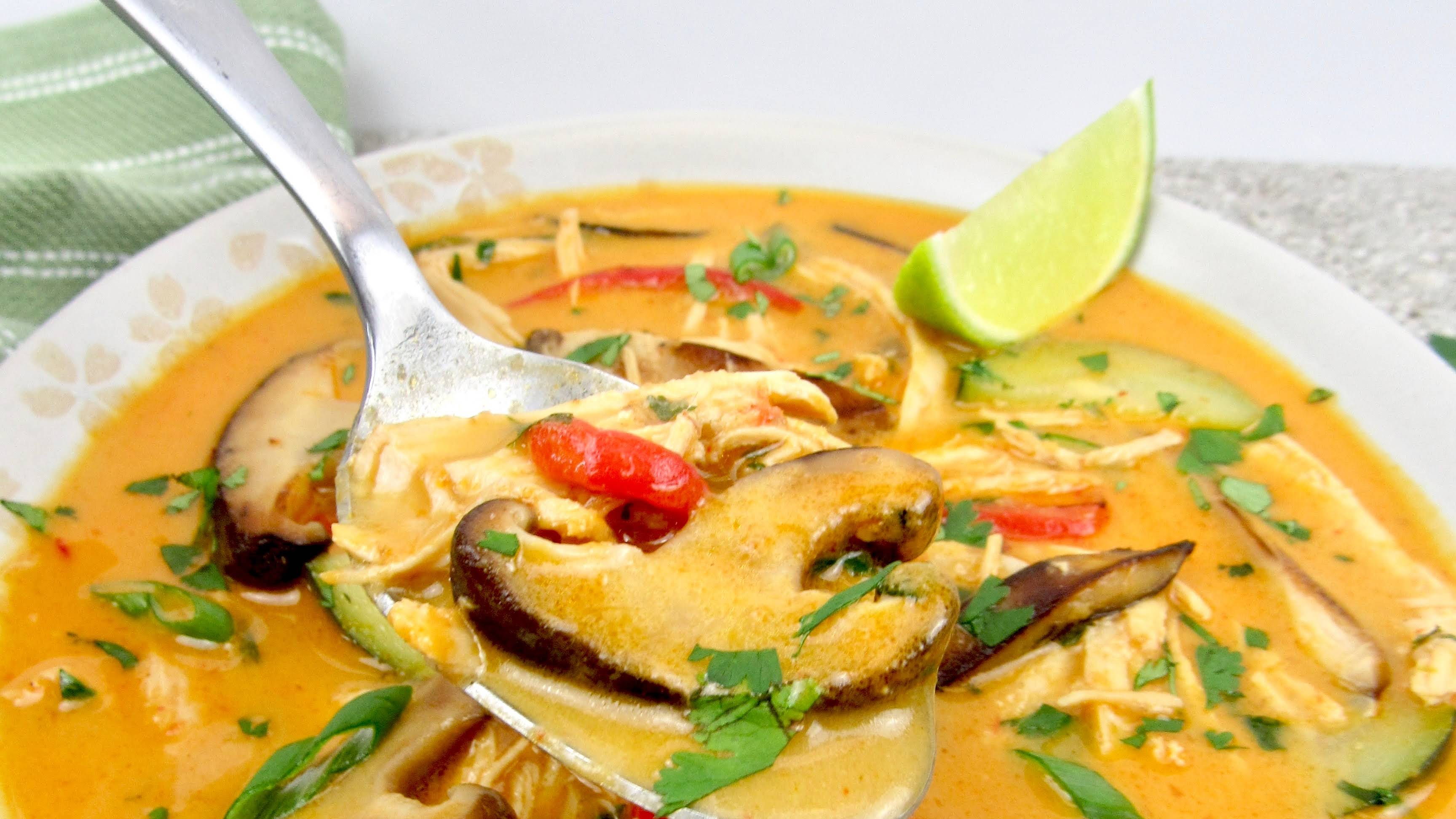 Thai Coconut Curry Chicken Soup Keto And Low Carb