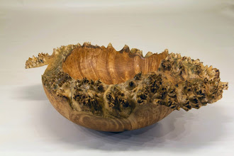 "Photo: Jerry Kaplan natural edge bowl   11"" x 10""x 5""  [big leaf maple burl]"
