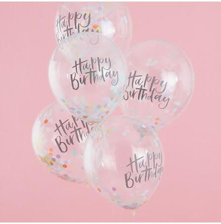 Konfettiballonger Happy Birthday - Pastel party