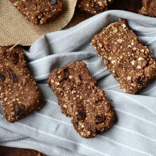 Baked Cinnamon Raisin Protein Oat Bars.