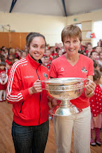 Photo: Julia White brings The O'Duffy Cup back Our Lady of Lourdes NS, Ballinlough where she was a student. Pictured here with School Principle Mary Lucey.Photo: Rob Lamb +353214293714Free Photo: NO REPRO FEE
