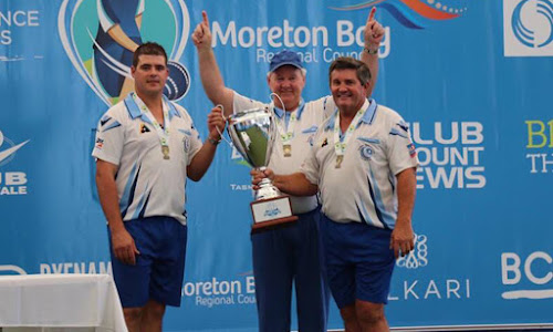 Cameron Yates, Graham Spence and Peter Hobday proudly holding the BPL Cup.