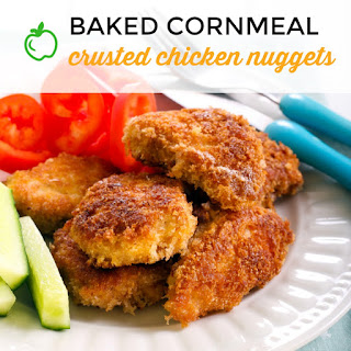 Baked Cornmeal Crusted Chicken Nuggets.