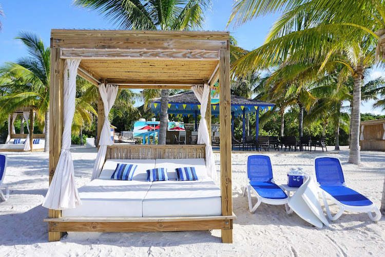 A beach bed along the beach on the Royal Caribbean private island of CocoCay in the Bahamas.
