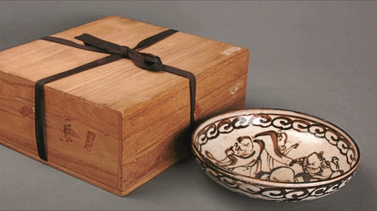 Boxed documented pottery bowl with sages by Ogata Kenzan, 1663-1743. Picture: SUPPLIED
