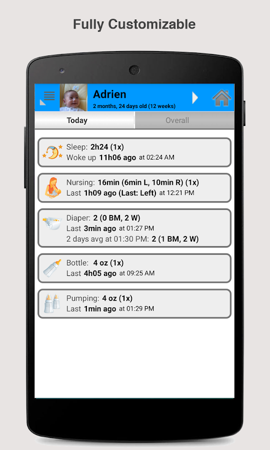 Baby Connect (activity logger)- screenshot